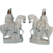Pair Mid-19th Century Staffordshire Flat Back Male and Female Figures on Horseback