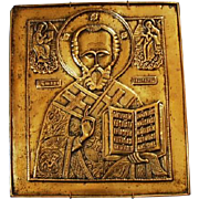 19th Century Russian Brass Icon of St. Nicholas from Estate of Grand Duchess Olga Alexandrovna