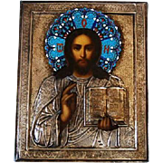 19th Century Russian Icon of Christ with Enamel and Silver Riza from Estate of Grand Duchess Olga Alexandrovna