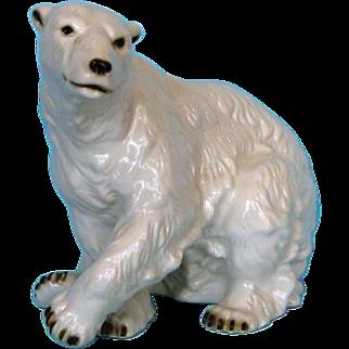 Mid-century Large Royal Dux Porcelain Polar Bear