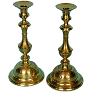 19th Century Polish Engraved Brass Candlesticks