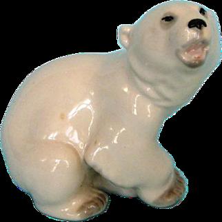 Vintage Russian Porcelain Baby Polar Bear by Lomonson