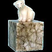 Vintage Italian Alabaster and Marble Polar Bear