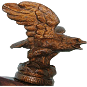 Antique Patinated Spelter Eagle Sculpture on Oak Base