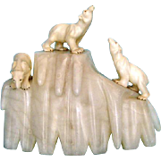 Italian Alabaster Deco Polar Bear Lamp