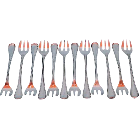 Twelve Antique French Silver Plated Oyster Forks in Thread or Filet Pattern by Christofle