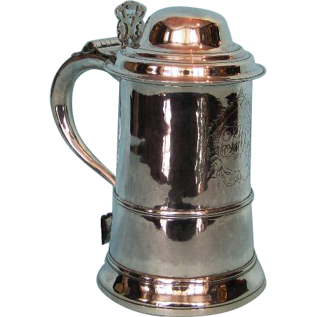 18th Century Sterling Silver Lidded Tankard by Charles Hougham