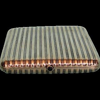 19th Century Continental .900 Fine Silver Cigarette Case with Sapphire Thumb Piece