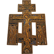 19th Century Russian Brass and Enamel Icon of Christ on Crucifix