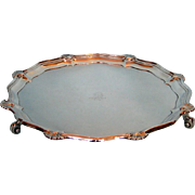 1906 English Sterling Silver Footed Salver with Chippendale and Shell Border by Hawksworth Eyre