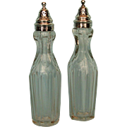 Pair of 1910 Cut Glass Bottles with Sterling Collars and Covers by James Deakin