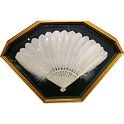 Chinese Carved Bone Goose Feather Fan Circa 1920