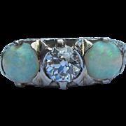 Antique Platinum Filigree Diamond Opal Ring Circa 1910