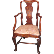 Antique Dutch Walnut Armchair Marquetry Inlay Circa 1735