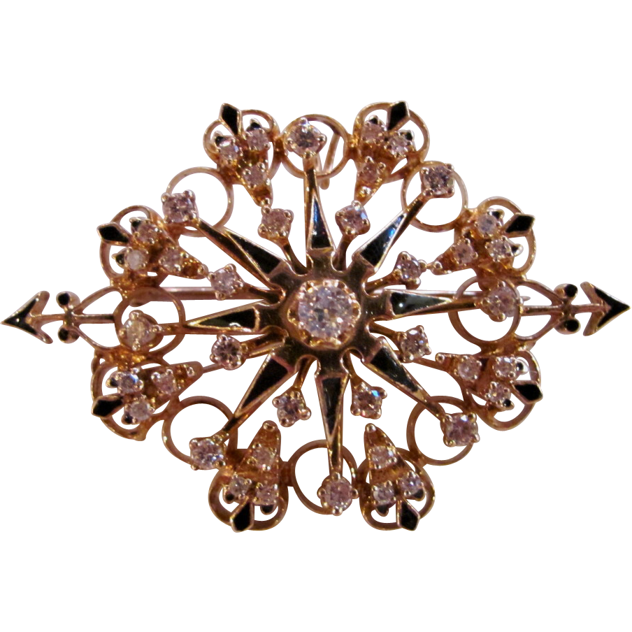 Vintage 14K Gold Diamond Enamel Brooch Dazzling!