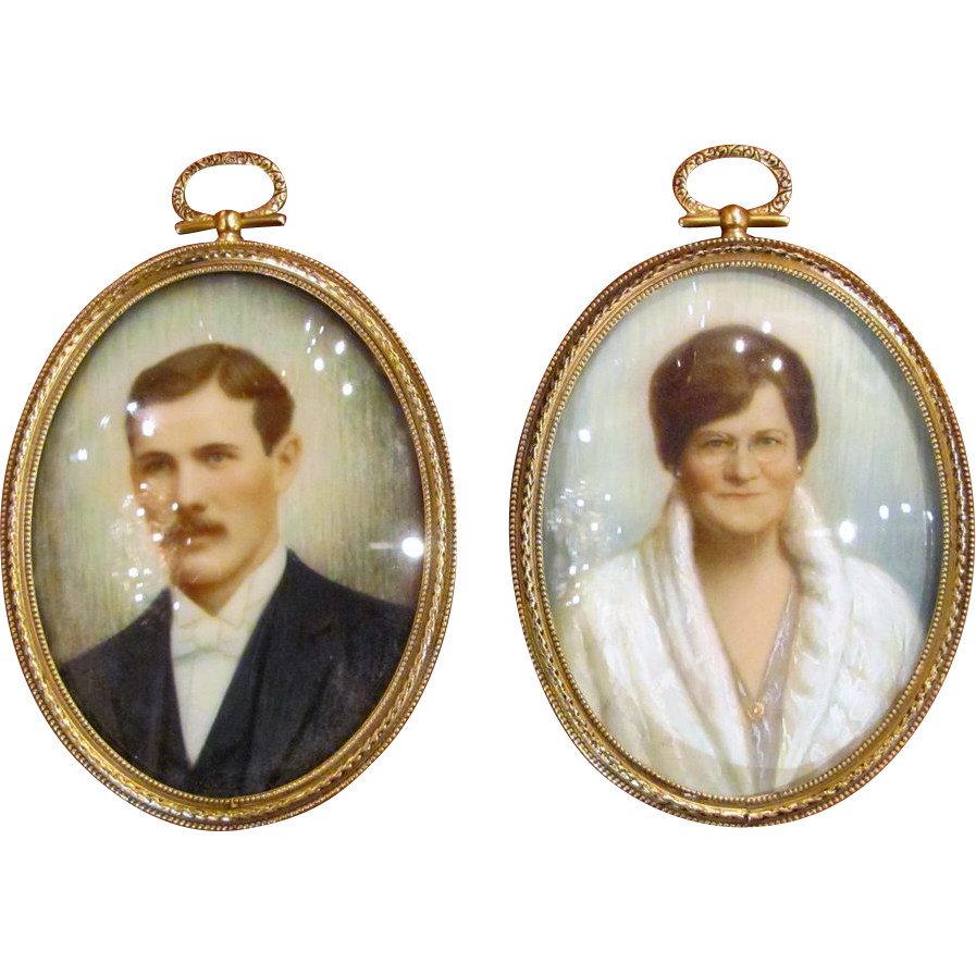 Pair Portrait Miniatures Signed by Noted NW Painter Muehlenbeck dated 1930