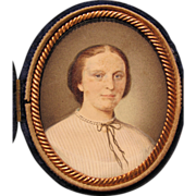Cased Antique Victorian Portrait Miniature Circa 1850