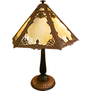 Antique Caramel Slag Glass Panel Table Lamp Circa 1920