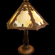Antique Caramel Slag Glass Panel Table Lamp Circa 1920