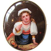 Antique Victorian Brooch Hand Painted Miniature 1860's