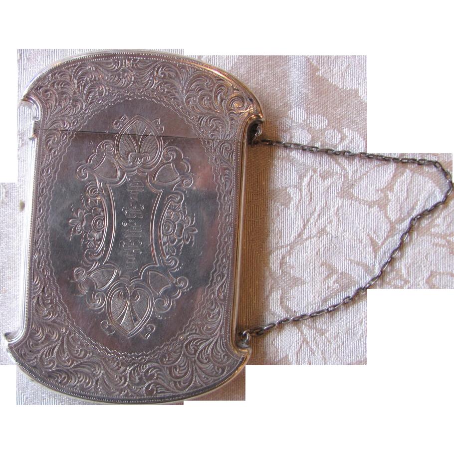 RARE American Coin Silver Card Case NWSW Mfg. Co 1860's