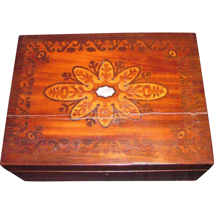 Antique Victorian Walnut Inlaid Jewelry Box Circa 1870
