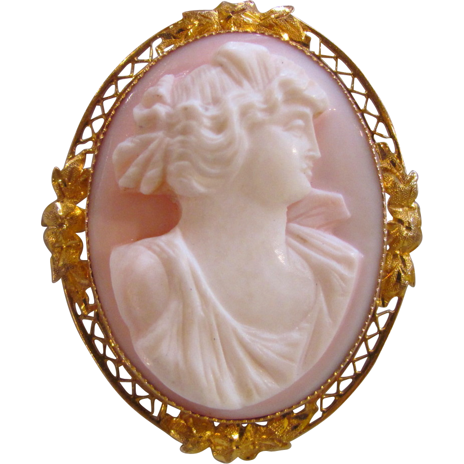 Antique Edwardian Shell Cameo Brooch 10K Circa 1910