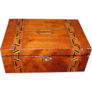 Antique English Tunbridgeware Jewelry Box  Circa 1870