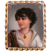 Antique Edwardian Hand Painted Porcelain Brooch 18K Gold Frame Circa 1915
