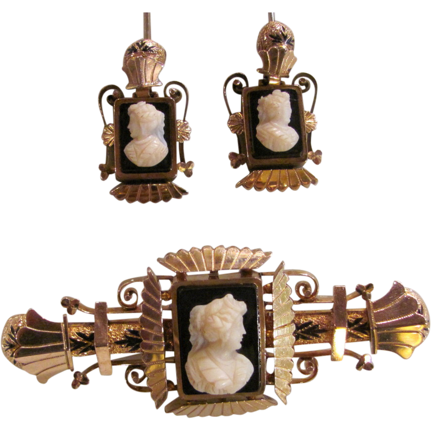 Antique Victorian Brooch and Earrings 10K Gold & Onyx Cameo Brooch & Earrings