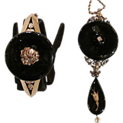 Victorian 14K Bracelet and Necklace Set Onyx Pearl Diamond Circa 1870