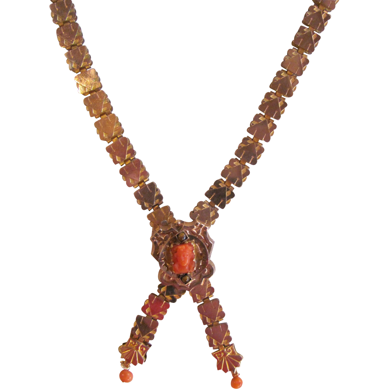 Antique Victorian 10K Gold Filled Bookchain Necklace Coral Cameo 1880's