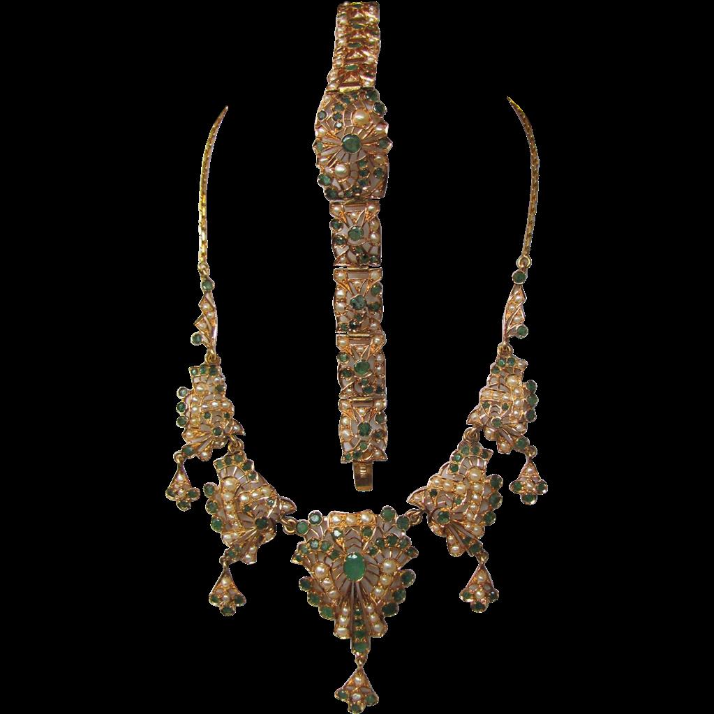 Antique Victorian 18K Emerald & Pearl Necklace & Bracelet set