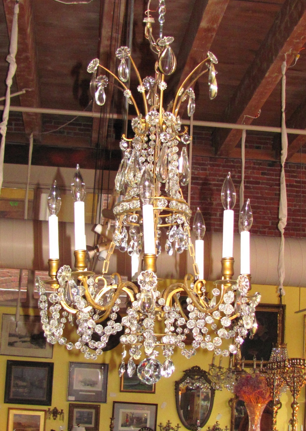 Roll over Large image to magnify, click Large image to zoom - Antique Victorian 8 Light Crystal Chandelier Circa 1880 From