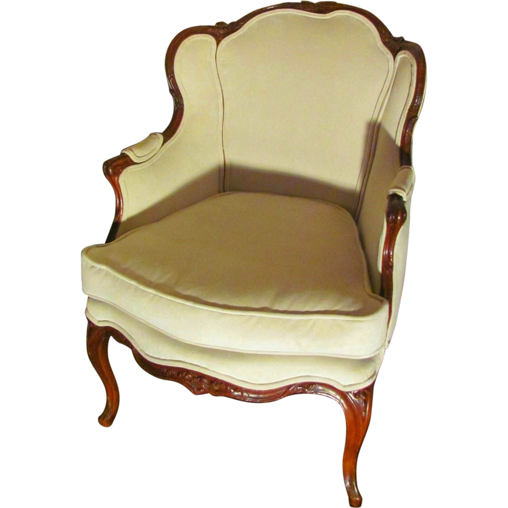 Antique French Louis XV Walnut Bergere Armchair Circa 1760