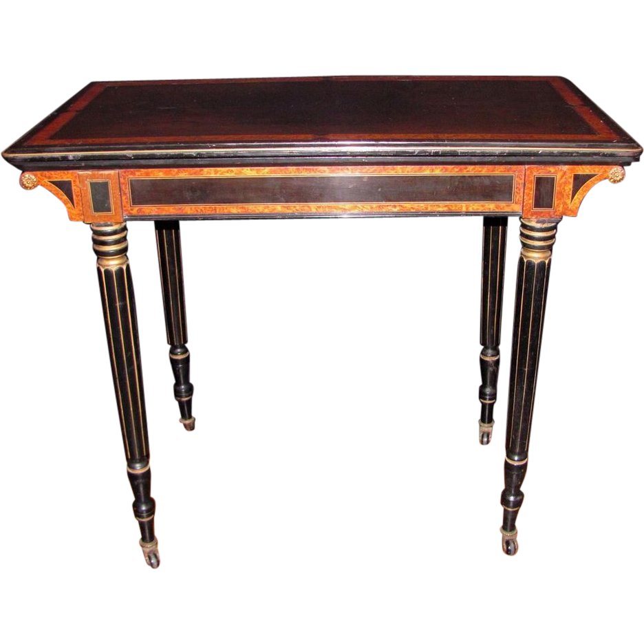 Antique English Victorian Ebonzied and Inlaid Game Table Circa 1880