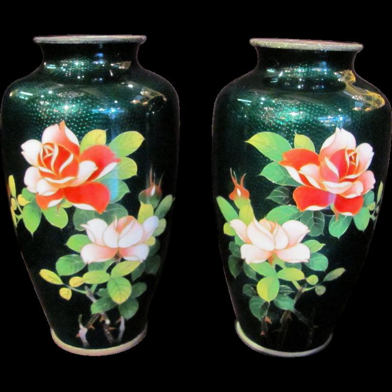 Pair Vintage 1930's Japanese Ginbari Cloisonne Vases