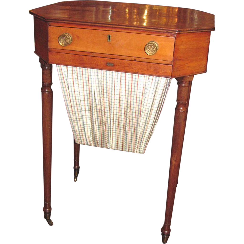 Antique American Federal Mahogany and Maple Sewing Stand Circa 1805