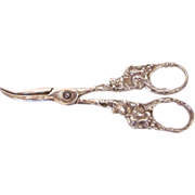 Antique American Sterling Silver Grape Shears 19th Century