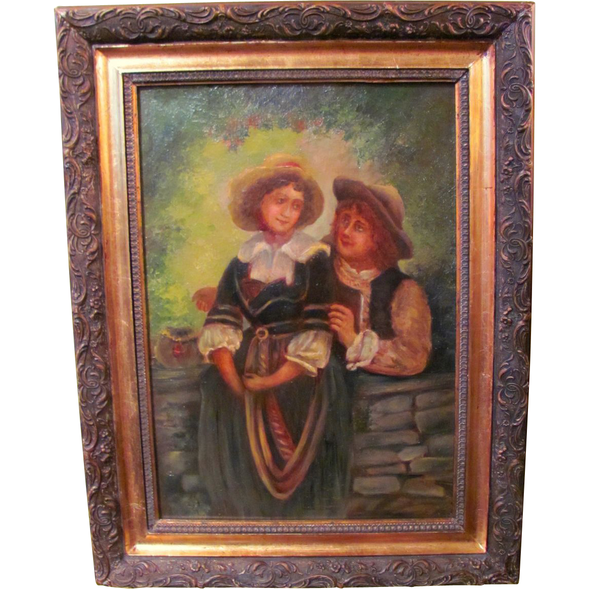 Antique American Oil on Canvas Painting Circa 1880
