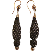 Antique Victorian Mourning Hair Earrings Gold Circa 1860