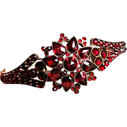 Antique Victorian Bohemian Garnet Bangle Bracelet Circa 1850