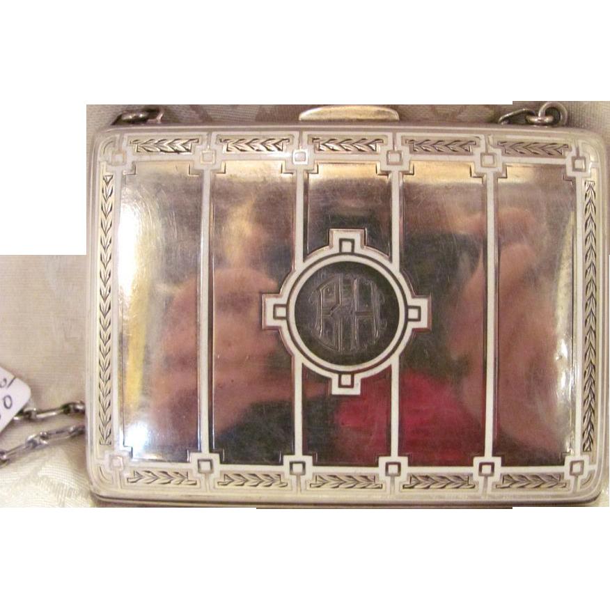 Antique American Art Deco Sterling Silver Enamel Purse Circa 1920