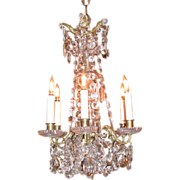 Antique Brass and Crystal Chandelier Circa 1850 6 Lights