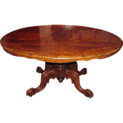 Antique English Victorian Burl Walnut Tilt Top Center Table Circa 1850