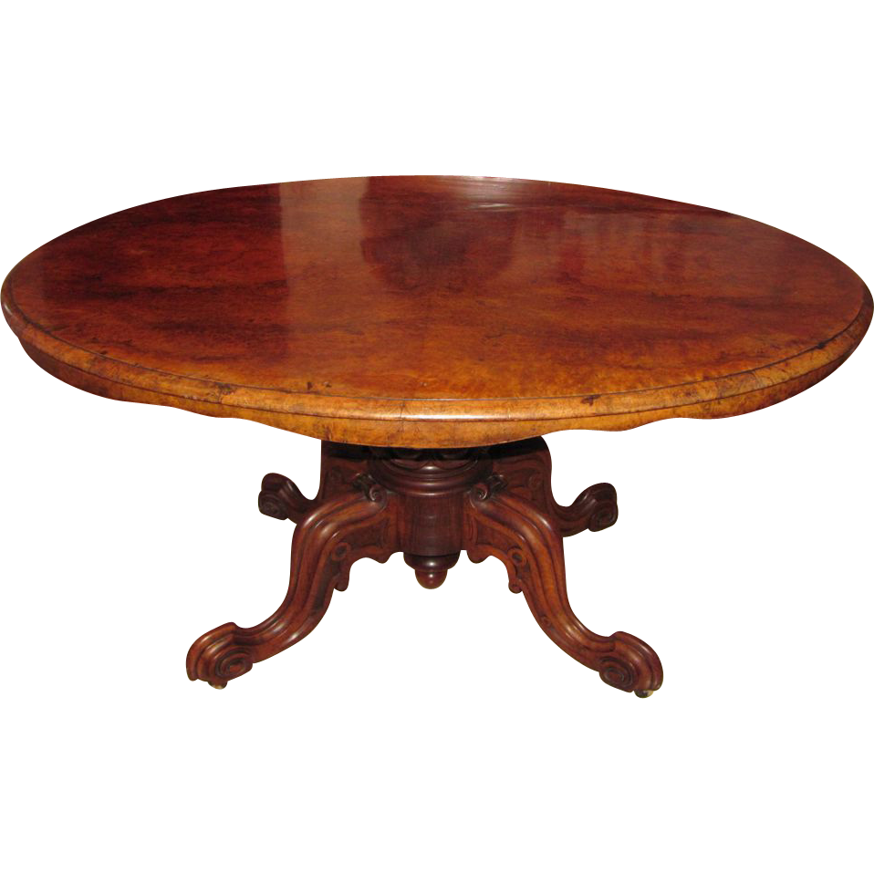 Antique English Victorian Burl Walnut Tilt Top Center Table Circa 1850