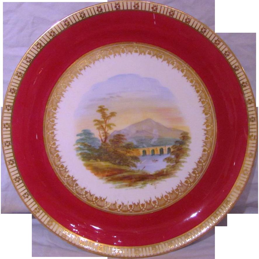 Antique Victorian Hand Painted Porcelain Dessert Set Circa 1850