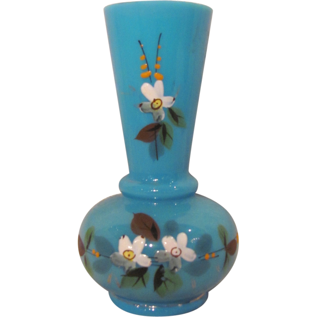 Antique English Opaline Bristol Glass Vase Circa 1880