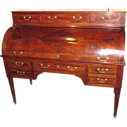 Antique French Directoire Mahogany Cylinder Desk Circa 1810