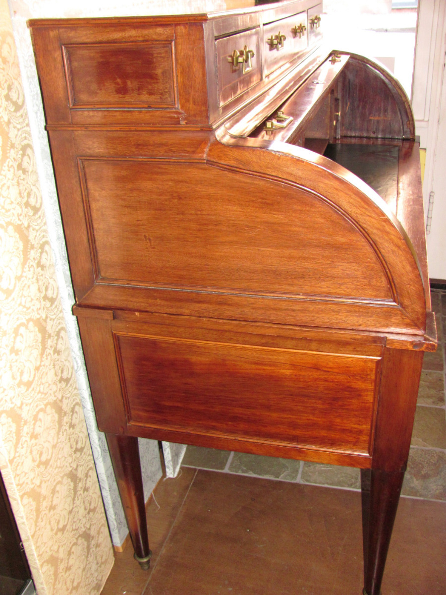 Roll over Large image to magnify, click Large image to zoom - Antique French Directoire Mahogany Cylinder Desk Circa 1810 From